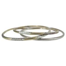 3 Vintage Joined & Carved Sterling Silver & 14K Gold-Filled Bangle Bracelets