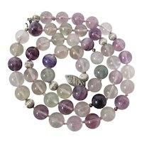 Vintage Sterling Silver, Amethyst, Prasiolite & Rock Crystal Necklace