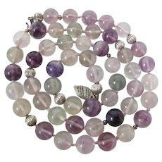Vintage Sterling Silver, Amethyst, Prasiolite & Rock Crystal Necklace