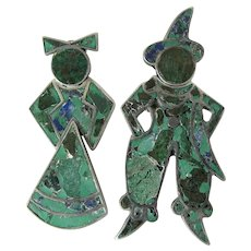 Vintage Mexican Inlaid Sterling Silver Rustic Man & Woman Post Earrings