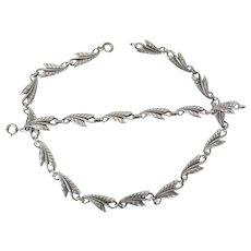 Vintage Sterling Silver Leaf Necklace Convertible To A Necklace & Bracelet Set