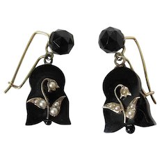 Antique Victorian 14K Gold, Black Onyx & Seed Pearl Earrings With Kidney Wires