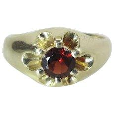 Antique Victorian 14K Gold Almandine Garnet Solitaire Mens / Unisex Belcher Ring