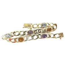 Vintage 14K Gold Curb Link Amethyst Citrine & Blue Topaz Line / Tennis Bracelet