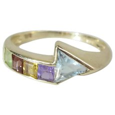 Colorful 14K Yellow Gold Mixed Square & Triangular Gemstone Ring