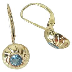 Vintage 14K Yellow Gold Swiss Blue Topaz Lever-Back Earrings