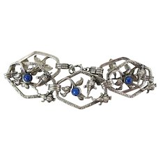 Art Deco Era 8 Inch Sterling Silver & Art Glass Fleur-De-Lis Bracelet