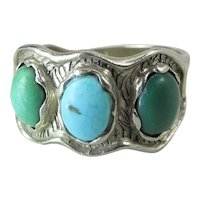 14K Yellow Gold Modernist Unisex Ring W/ 3 Colors Of natural Turquoise 8 Grams