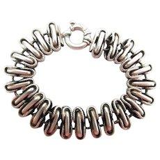 Chunky Vintage Milor 8 1/4-Inch Sterling Silver Bracelet W/ Oversize Bolt Ring