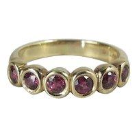 Fine Vintage 18K Yellow Gold Six Stone Ring W/ .77 Carats Vivid Natural Rubies
