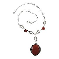 Art Deco Era Sterling Silver, Carnelian & Marcasite Pendant Necklace