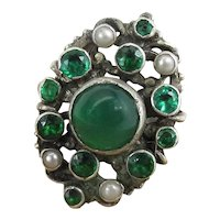 Antique Austro Hungarian Silver Chrysoprase Pearl & Paste Renaissance Style Ring