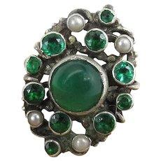 Antique Austro Hungarian Silver Chrysoprase Pearl & Paste Renaissance Style Ring
