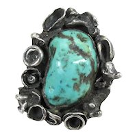 Exceptional Vintage Navajo Silver & Turquoise Modernist Ring 39 Grams Signed SL