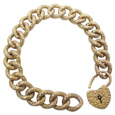 Antique Victorian Stamped 14K Gold Curb Link Bracelet W/ Matching Padlock Clasp