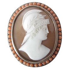 Antique Victorian Sardonyx Shell Cameo Brooch Alexander In Coral Bead Mounting