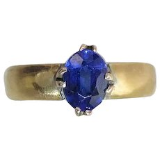 Antique 1863-1862 22K Gold Fine Oval Natural Royal Blue Sapphire Solitaire Ring