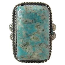 Fine Vintage Navajo Silver & Morenci Turquoise Ring With Wide Stamped Shank