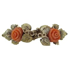 Antique Victorian 14K Yellow & Rose Gold Carved Coral Rose Pin / Brooch