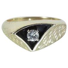High Style 1960's Mod Enameled 14K Gold .20 Carat Diamond Men's / Unisex Ring