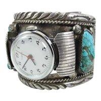 Navajo Dolores Paul Side Mount Silver & Turquoise Watch Cuff Bracelet 114 Grams