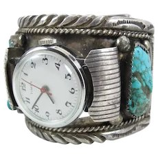 Navajo Dolores Paul Side Mount Silver & Turquoise Watch Cuff Bracelet 114 Grams
