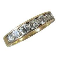 Fine Quality 14K Yellow Gold Seven Stone 1/2 Carat Band Style Diamond Ring