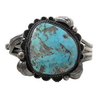 Vintage Navajo Teddy Goodluck Silver & Turquoise Cuff Bracelet
