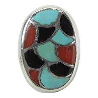 Vintage Ingot Silver Turquoise, Coral & Onyx Inlaid Southwestern Ring 36 Grams