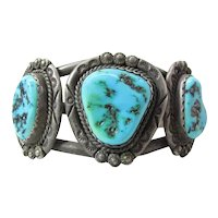 Vintage Navajo Three Stone Sterling Silver & Turquoise Cuff Bracelet
