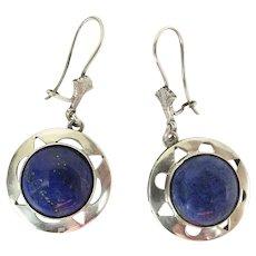 Art Deco Era Egyptian Silver & Lapis Lazuli Dangle Earrings