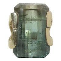 Wonderful 14K Gold 25.52 Carat Tri-Color Emerald Cut Tourmaline Ring