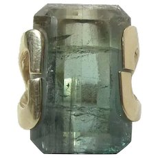Wonderful 14K Gold 25.52 Carat Tri-Color Emerald Cut Tourmaline Ring