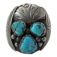 Vintage Hand Made Navajo Ingot Silver & Turquoise Ring - Size 13 - 20.5 Grams