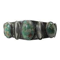 1930's Vintage Navajo Silver Cuff Bracelet W/ Green Turquoise In Quartz Matrix