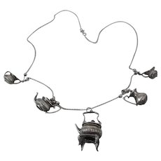 Vintage 29 Inch Sterling Silver Charm Necklace With Full 5 Piece Tea Set Charms