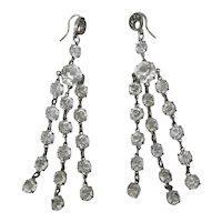 Lovely Antique Circa 1915 Edwardian Silver & Paste Fringed Dangle Earrings