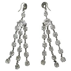 Lovely Antique Circa 1915 Edwardian Silver & Paste Fringed Dangle Earrings