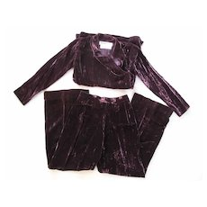 1970's Yves St Laurent YSL Russian Collection Eggplant Crushed Velvet Pant Suit