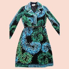 Early 1970's Pucci Velvet Dress W/ Great Print & Saks Italy Retailer's Label