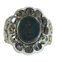 Antique Georgian 12K Gold, Silver, Bloodstone, Diamond & Citrine Ring