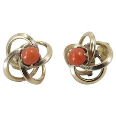 Vintage 14K Yellow Gold Red Coral Stud Earrings