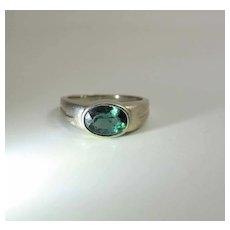 Vintage 14K Gold Yellow Gold Blue Green Tourmaline Ring