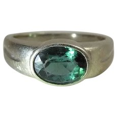 Vintage 14K Gold Yellow Gold Blue Green Tourmaline Ring