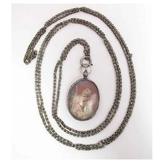 17th Century Double Sided Rock Crystal & Fine Silver Reliquary Pendant On Chain
