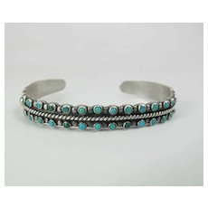 Vintage Circa 1940 Handmade Coin Silver & Two Row Snake Eye Turquoise Cuff Bracelet