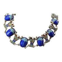 Art Deco Era Colorfully Enameled Egyptian Silver Vermeil Scarab & Ankh Bracelet