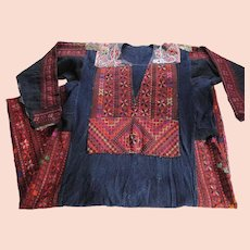 Antique Colorful Silk Embroidered Indigo Cotton Pakistani Dress From Swat Valley