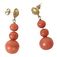 Antique Etruscan Revival 14K Gold & Red Coral Drop / Dangle Push-Back Earrings