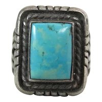 Fine Vintage Navajo Silver & Blue Ridge Turquoise Ring W/ Wide Stamped Shank